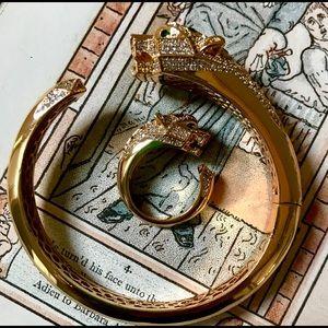 New gold lion panther ring set cuff bracelet